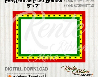 DIY - Printable Pan-African Ghana Flag 5x7 Border - 2-up on 8.5x11 - FREE A7 Envelope Template and Matching Gift tags - Download in PNG