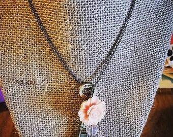 Rose and Skeleton Key Necklace