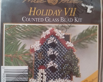 Mill Hill Holiday Snow-Capped Birdhouse glass bead cross-stitch kit