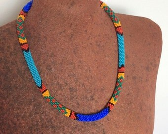 Blue & Turquoise African style necklace