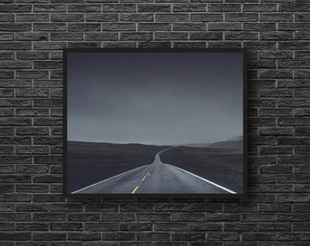 Empty Road Photo - Road Mood - Highway Photo - Road Trip Photo - Grey - Road Photography - Road Wall Art - Men Room Decor - Photography
