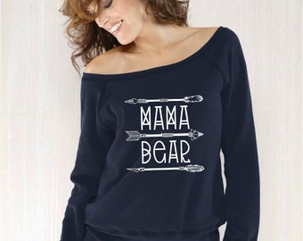 mama bear sweatshirt, off the shoulder sweatshirt - mama bear tribal, mom shirt, mom birthday gift, gift for mom (white design)