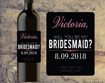 BRIDESMAID WINE BOTTLE Label Gift Favor Will You Be My Bridesmaid Proposal Invite