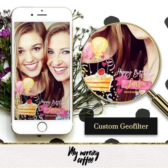 Items Similar To Custom Snapchat Geofilter Cake & Balloons Birthday Party Filter, Birthday