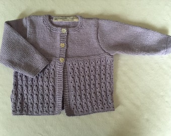 Baby girl's hand knitted cotton cardigan (6 - 9 months)