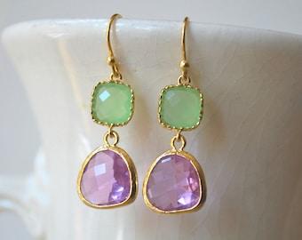 Lavender and Peridot Green Earrings. Bridesmaid Gift. Drop Earrings. Colorblock Earrings. Bridesmaid Earrings. Bridal Jewelry