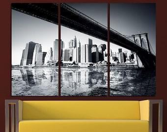 New York Brooklyn Bridge Wall Art East River Canvas Art New York Print New York Wall Decor New York Poster New York Skyline New York City