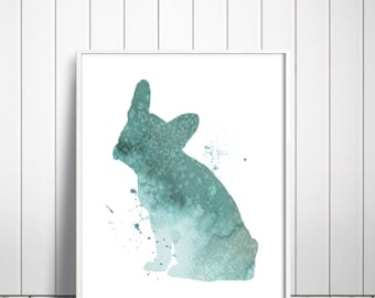 Watercolor Art Print, French Bulldog Painting, Home Wall Décor, French Bulldog Art Printable, INSTANT DOWNLOAD
