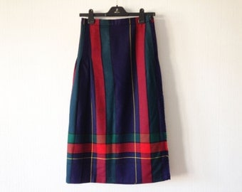 Blue Green Red Tartan Skirt Plaid Skirt Wool Scottish Kilt Skirt Accordion Pleated Skirt Size Medium Tartan Kilt Skirt Scottish Men's Skirt