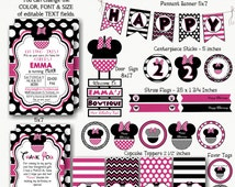 Minnie Mouse Birthday Bundle Pack - Instant Download & Editable Files - Personalize with Adobe Reader-Party Supplies-Minnie Mouse Decoration