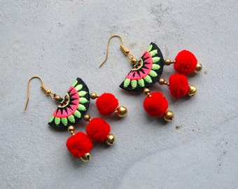 Hmong Embroidery with Red Pom Pom Earrings