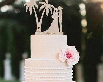 Wedding Cake Topper Tree Palm  Bride Groom Silhouette Cake Topper Rustic Wedding Cake Topper Silhouette Cake Topper