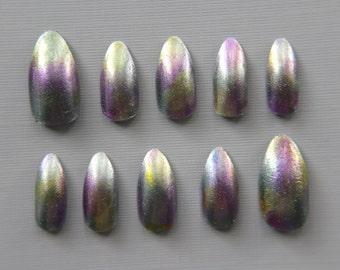 Almond Opal Nails | Press On Nails | Fake Nails | False Nails | Glue On Nails | Acrylic Nails | Handpainted | Nail Art