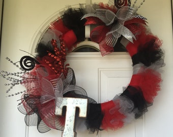 Colorful Door Wreath with Initial