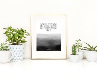 Jack Kerouac Printable / Kerouac Print / Dorm Art / Literary Printable / I Saw That My LIfe Was a Vast Empty Page Printable Instant Download