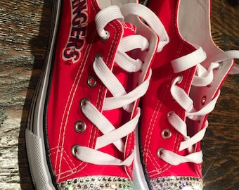 Texas Rangers Swarovski Crystal Canvas/Converse Shoe - FREE SHIPPING