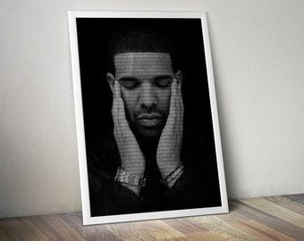 Drake Poster Music Song Lyric Typography  Word Art 5x7 8x10 12x16 18 x 24