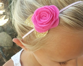 Pink felt flower headband/ baby girl flower headband/ pink headband