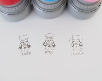 Personalised refillable pre-inked kid's superhero stamp
