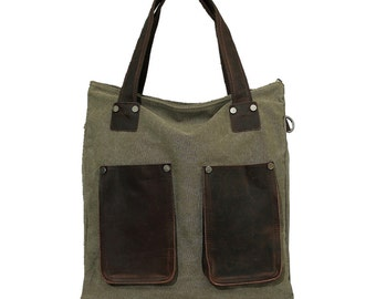 Waxed Canvas Tote Bag / Leather Tote Bag / Handbag / Tote Bag Men / Shoulder Tote Bag / Shoulder Bag / Father's Day Gifts, Fathers day gifts
