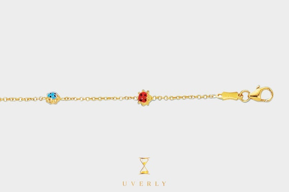 14k Solid Yellow Gold Colorful Ladybugs Children's Jewelry Bracelet 5.5""