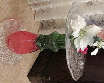 "17"" Repurposed Vintage Glass Christmas Plant Stand or Warmer Climate Birdbath/Feeder (+ 32 F)"