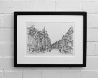 Newcastle Set of 4 Prints, Angel of the North, Grey Street, Theatre Royal, Tyne Bridge, Art Prints, Original Illustrations, Wall Art, Prints