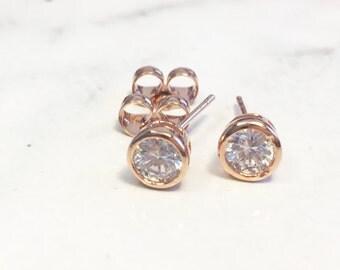 Rose Gold Diamond Stud Earrings, Rose Gold Stud Earrings, Diamond Stud Earring,Everyday Earrings,Champagne Stud Earrings,Minimalist Earring