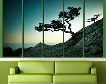 Canvas Art Tree Print Large Canvas Print Nature Stretched Canvas Interior Décor Mountain & Tree Wall Art Gift for Home Decoration Multipanel