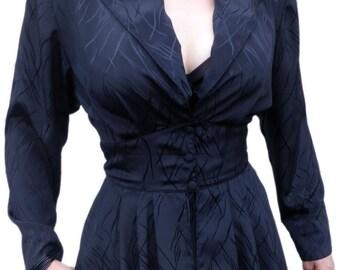 1980s Vintage Vixen Black Faux-2 Piece Peplum Dress S 10