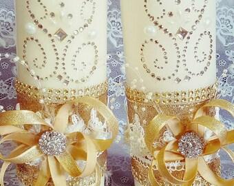 2 Custom Unity Candle set for Wedding, ceremony set, Wedding Reception