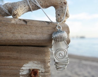 White Frosted Sea Glass Necklace
