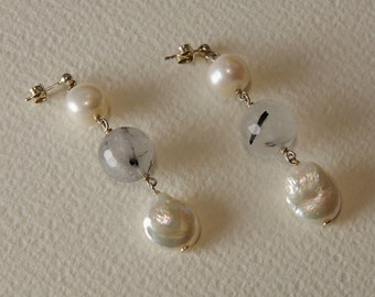 Pearl Earrings, 925% Silver and tourmalinated quartz