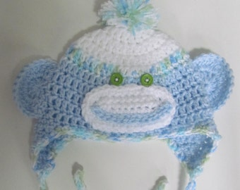 Crocheted Sock Monkey Hat for Newborn