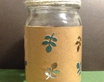 Rustic leaves mason jar tea light holder