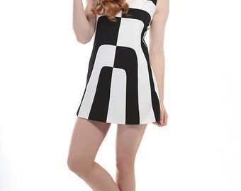 60s Style Mini Dress Black & White Op Art Design  - Mod Space Age - Vintage Reproduction