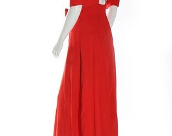 "Vintage 70s Ossie Clark for Radley ""Come Fly With Me"" Red Moss Crepe Backless Maxi Dress Small UK8-10 / US4-6 / EU 36-38"