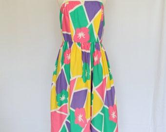Vintage 80s Tropical Hawaiian Sundress / Geometric A-Line Dress in Pink, Purple, Yellow, Turquoise