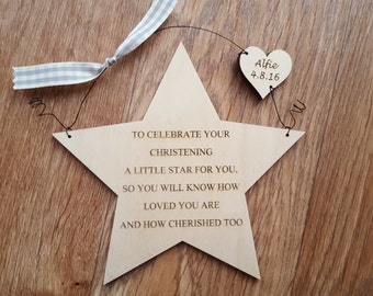 Wooden Christening or Baptism Gift Personalised Star Plaque