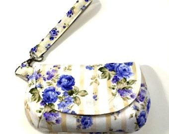 Shabby purple floral wristlet clutch purse purple rose floral clutch purse pastel floral purse with 2 interior pockets and zipper pocket