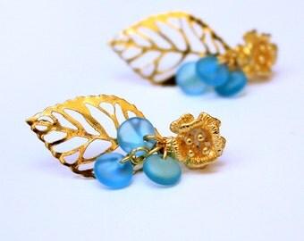 blue earrings small blue wedding earrings gold bridesmaids gifts romantic earrings blue jewelry bridal earrings bohemian studs gifts L47