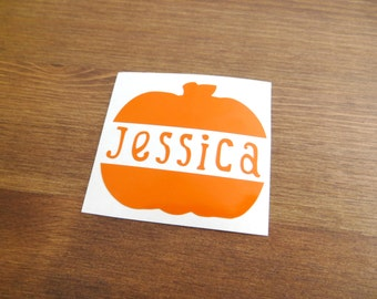 Pumpkin With Name Vinyl Decal // Choose Your Color, Size, and Name