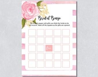 Bridal shower bingo / Blush floral / Watercolor / Bridal shower / DIY Printable / INSTANT DOWNLOAD