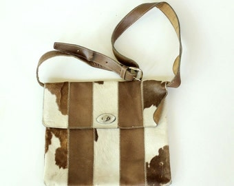 vintage striped leather pony hair purse . leather crossbody bag . 1960s / 1970s hippie bag, patchwork panel purse