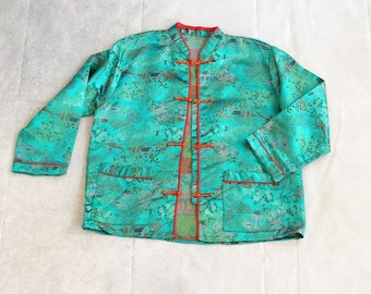 childs brocade Asian jacket . turquoise green brocade jacket, kids size