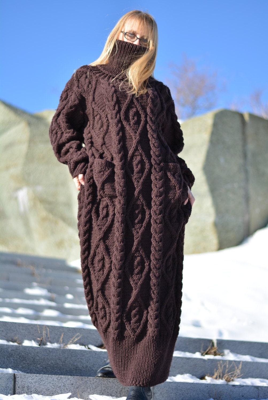READY handmade wool dress hand knitted wool sweater dress long