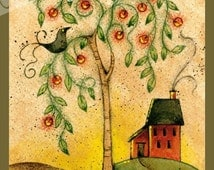 ePACKET - Acrylic & Colored Pencil Project Primitive House Crow Apple Tree Sunset by Erika Joanne
