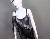 READY TO SHIP Size Large/X-Large  Sheer Black Bodysuit with Silver Sequin Mesh Trim and Black Fringe / Matching Mohawk Feather Headpiece