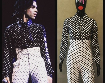 MADE TO ORDER Black and White Polka Dot Prince Inspired Shirt and High Waist Pant Costume