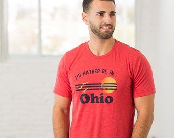 Rather Be In Ohio Mens T-Shirt, Screenprinted Tshirt, Triblend Red, Vacation Tshirt